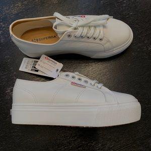 Leather white Superga platform sneakers